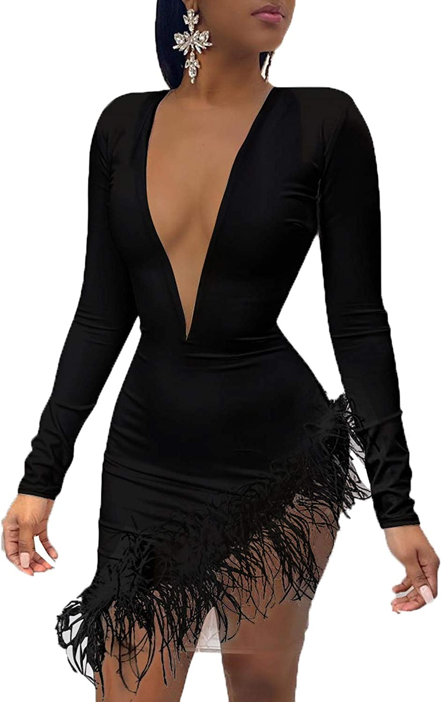 Kirnapci Womens Bodycon Dresses Clubwear Feather Patchwork Mesh Irregular Mini Party Dress