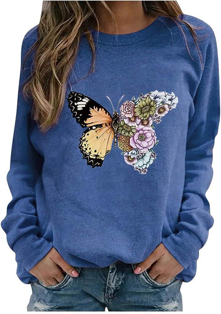 Sweatshirts for Women Vintage,Womens Crewneck Sweatshirts Tops Vintage Butterfly Print Long Sleeve Pullover Shirts