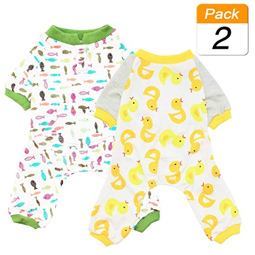 Scheppend 2-Pack Pet Clothes Puppy Cute Pajamas Dogs Cotton Rompers Cats Jumpsuits Cosy Apparel