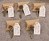 50pcs Wedding Favors Candy Box w/ Antique Skeleton Key Bottle Openers Escort Card Thank You Tag Pillow Box (Key Style - Mixed Bronze)