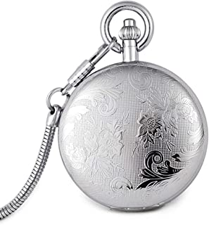 AI LI WEI Retro flip Carved Moving Mechanical Watch Business Men and Ladies Pocket Watch.