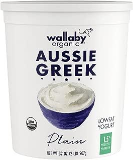 Wallaby Organic, Organic Greek Plain Low fat Yogurt, 32 oz (Packaging and fat content (1.5% - 2%) may vary)