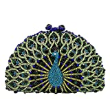 Elegant Crystal Clutches For Women Peacock Clutch Bag Evening Purses and Handbags (Small, Green)