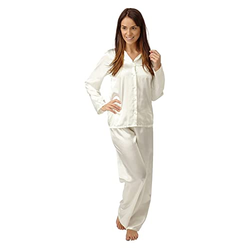 4fa27618ee Indigo Sky Ladies Satin Pyjamas Long Legs Long Sleeves Cream Sizes 14 14 16  16