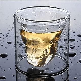 ダブルレイヤーショットクリアクリスタル - スカルグラスの3つのサイズ、ウイスキーウォッカバー・クラブビアグラス,150ml