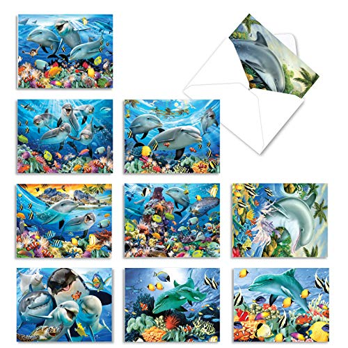 10 Ocean Creature 'Multi Porpoises' Bulk Thank You Cards with Envelopes 4 x 5.12 inch - Happy Animated Sea Creature Friends - Boxed Note Cards, Bulk Stationery Greeting Cards M6643TYG