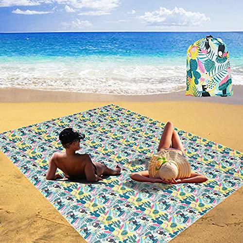 Alfombra de Playa Anti Arena 220 x 165 cm Esterilla Playa Manta Picnic Impermeable alfombras de Playa Ligera sin Arena portátil para la Playa, Camping, y Picnic