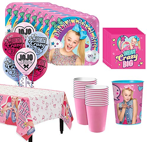 JoJo Siwa Basic Tableware Kit for 16 Guests, 54 Pieces, Includes Table Cover, Plates, Napkins, Cups, and a Favor Cup