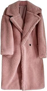 iHHAPY Faux Fur Coats Womens Warm Plush Coat Faux Fur Overcoat Long Coat Outerwear Elegant Luxury Parka Loose Jacket