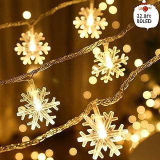 Luces de Navidad con copos de nieve Luces de Navidad con 32.8 pies 80LED Funciona con batería (no incluida), Decoración navideña para la capa del árbol de Navidad Decoración navideña