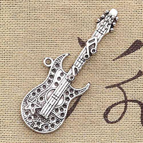 FZSWD 4 Uds encantos de Guitarra Musical 55X22mm Colgantes Chapados en Color Plateado Antiguo Que Hacen DIY Joyería de Color Plata Tibetana Hecha A Mano