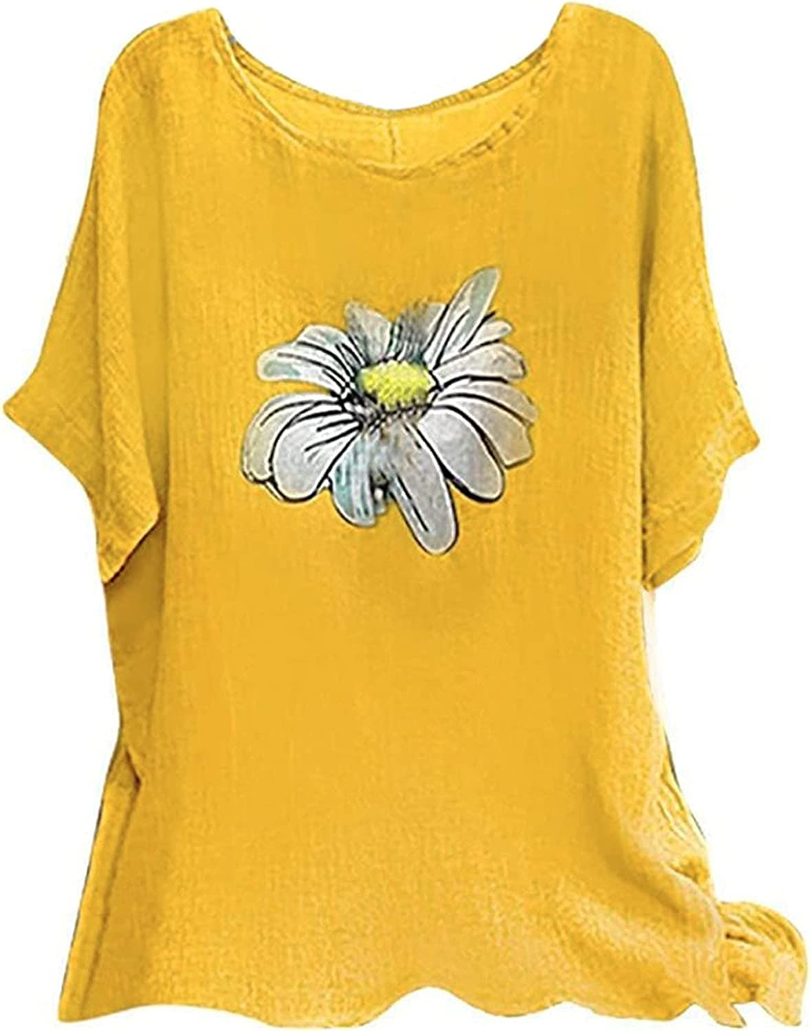 summer tops for women-Print O Neck Blouse Sleeve Short Tee Max 81% OFF Fashionable Baggy