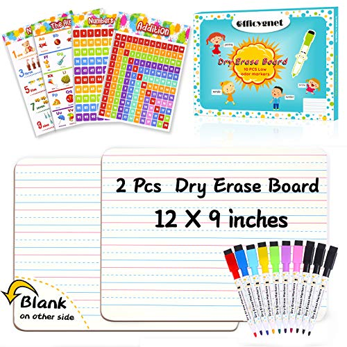 """Dry Erase Board, 2 Pcs 9'' X 12"""" Small White Board with 10 Pcs Dry Erase Markers & 4 Pcs Educational Posters, Double Sided Dry Erase Lapboard with Lines/White Board, Mini Whiteboard for Kids/Students"""