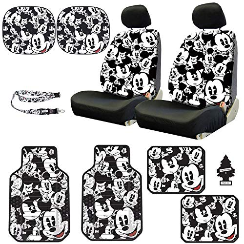 Yupbizauto Disney Mickey Mouse Design Low Back Sideless Car Seat Covers Spring Shades Floor Mats Lanyard Accessories Set with Air Freshener