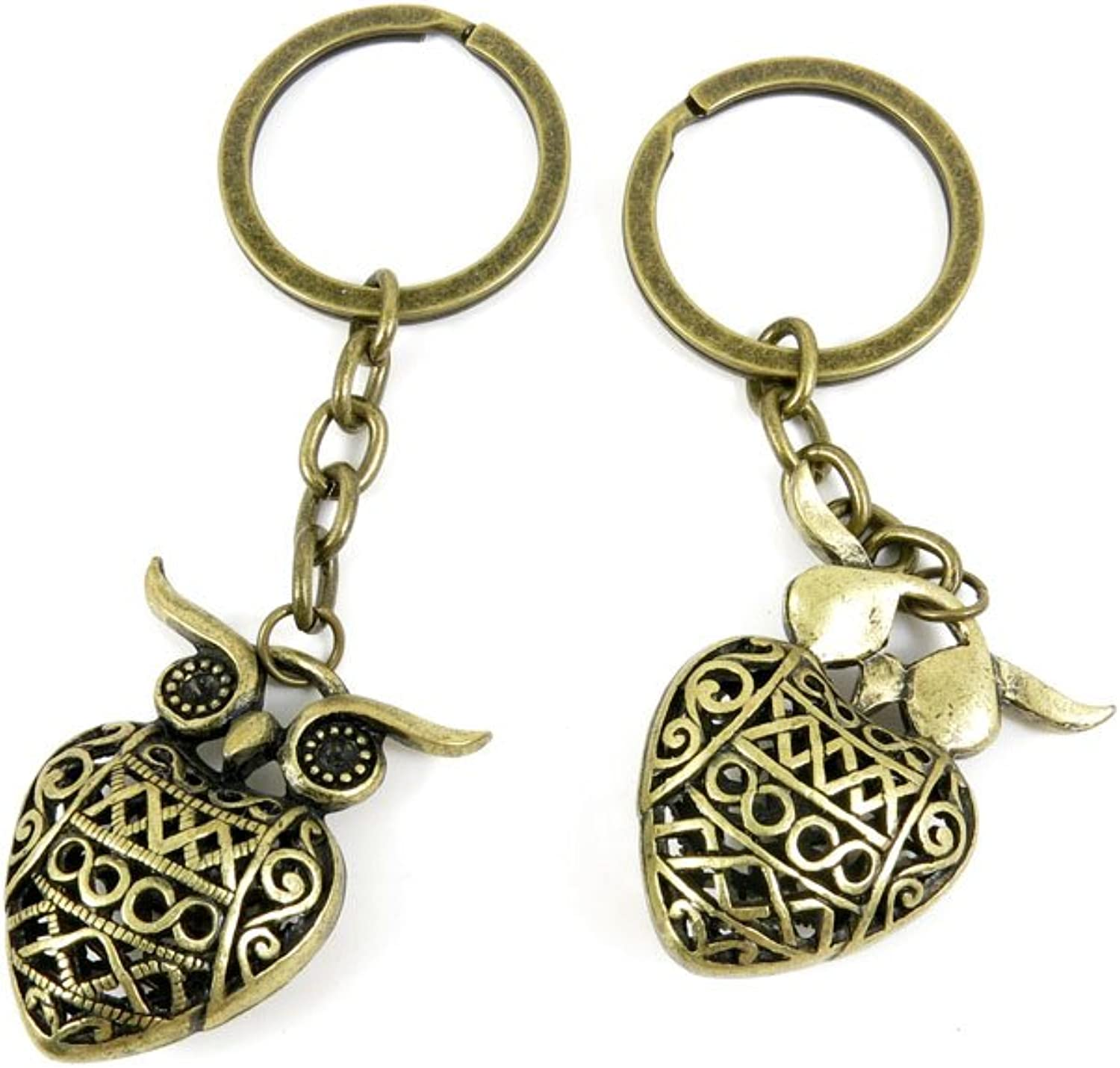 60 Pieces Fashion Jewelry Keyring Keychain Door Car Key Tag Ring Chain Supplier Supply Wholesale Bulk Lots L8XV1 Hollow Owl
