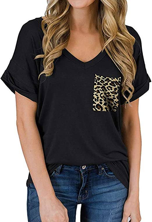 Plus Size T Shirts for Women Short Sleeve V-Neck Novelty Loose Tops Casual Tees with Pockets