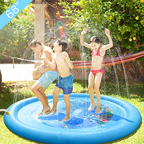 "Sprinkler Pad Splash Play Mat 68"" Summer Fun Backyard Play Mat Kids Outdoor Party Sprinkler Toy Inflatable Outdoor Water Toys for Children Kids Babies Toddlers Boys Girls Blue"