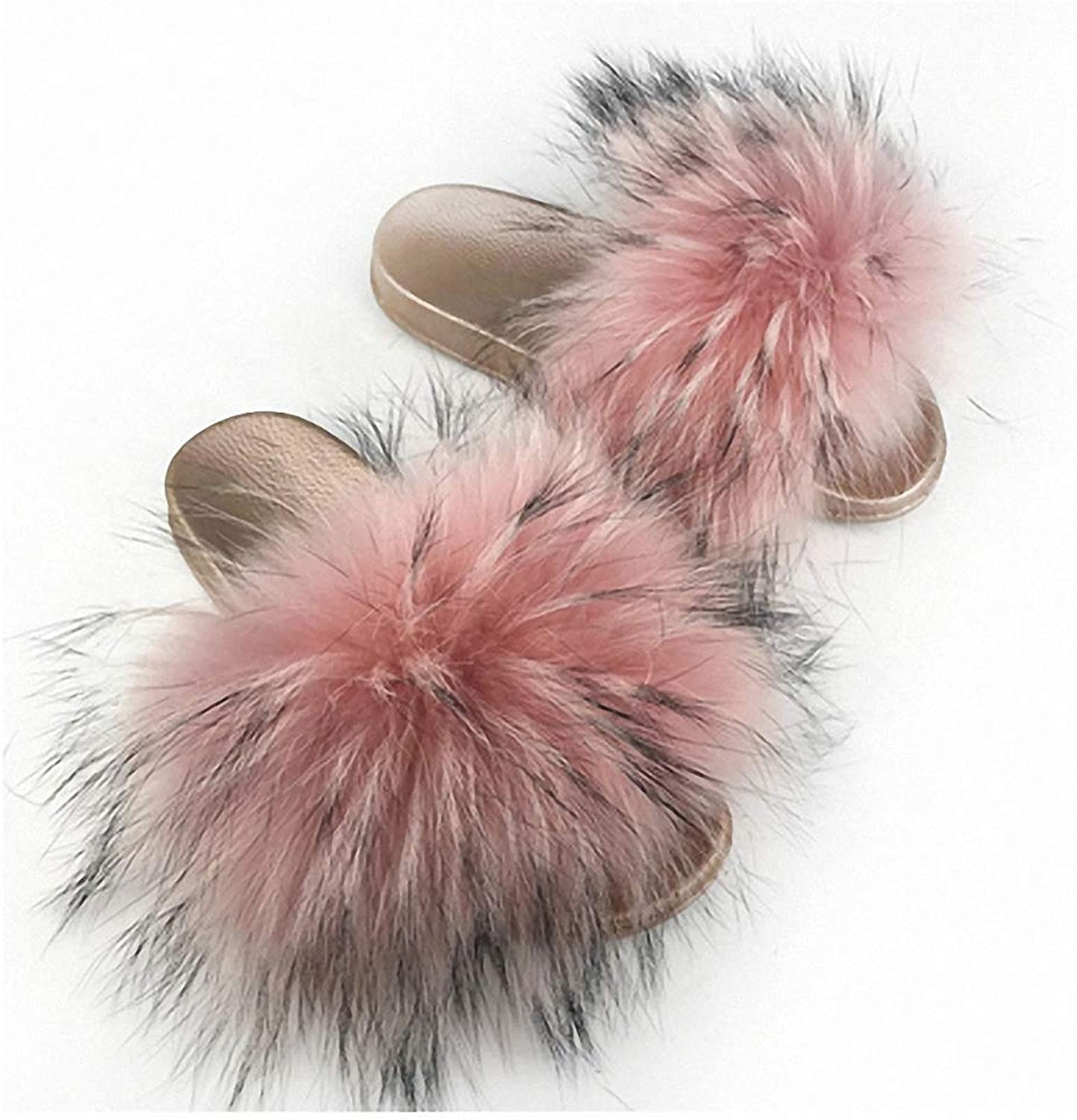 Womens Slippers Fur Slippers Winter Autumn Open Toe Fur Slides Beach shoes Mixed colors Women Furry Slippers Home shoes