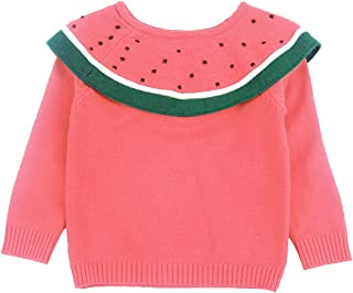 La Vogue Toddler Girls Cotton Knitted Ruffle Sweater Pullover Jumpers Spring Autumn Long Sleeve Hand Knit Sweater Tops