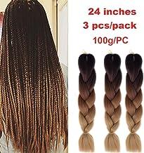 Kanekalon Extensiones de pelo trenzado Ombre 3 tonos de 60,96 cm, Showjarlly Ombre Jumbo trenzado de fibra de alta temperatura, 3 piezas/lote de 100 g/pieza, para trenzado de crochet