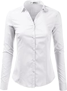 Basic Slim Fit Long Sleeve Button Down Collared Shirts for Women with Plus Size