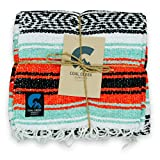 Coal Creek Supply Classic Mexican Blanket, Authentic Thick Falsa Soft Woven Travel Adventure Yoga Throw Blanket (Orange and Mint)