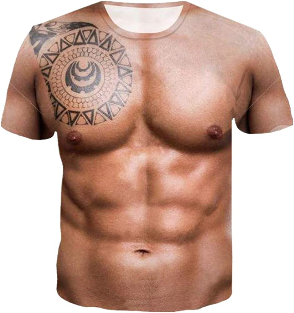 YOMXL Mens Funny Muscle Tops 3D Printed Cool Graphic Short Sleeve Undershirt Novelty T-Shirt