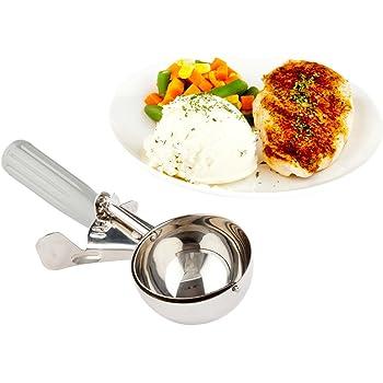 #8 (4 oz) Disher, Scoop, Food Scoop, Ice Cream Scoop, Portion Control - Grey Handle, Stainless Steel, Met Lux - 1ct Box - Restaurantware