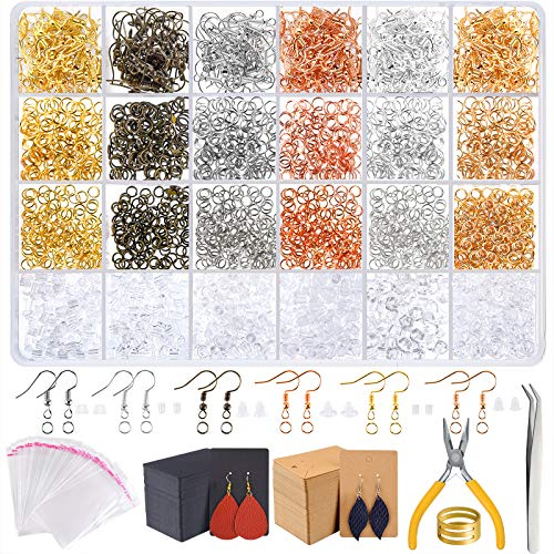 TUPARKA 2300Pcs kit Fabrication Bijoux,Kit de Réparation de Bijoux Includes, Boucles Oreilles, Anneaux pour la Prise de Bijoux, d'oreille Crochets Fournitures, Bijoux Starter Kit