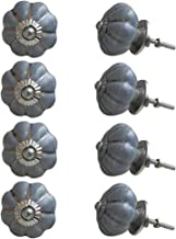 Indian-Shelf Handmade Ceramic Melon Kitchen Knobs Solid Drawer Pulls Door Handles(Grey, 1.75 Inches)-Pack of 8