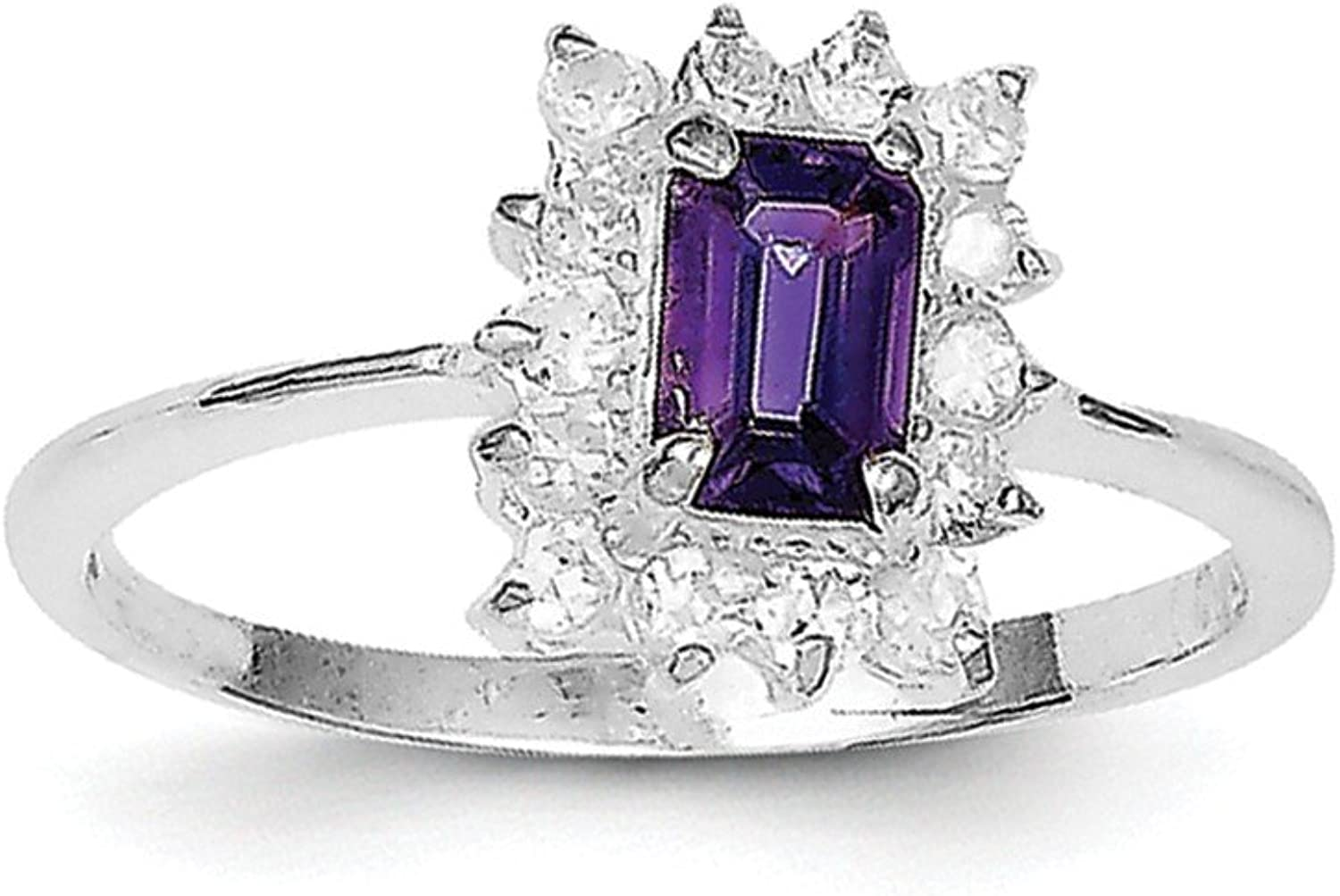 925 Sterling Silver Rhodiumplated Amethyst and Cubic Zirconia Ring