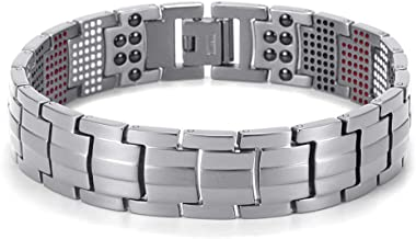 SH-JTL Magnetic Stainless Steel Bracelet, Magnetic Pain Relief Arthritis, for Health Care Gifts for Men and Women Wristbands,Silver