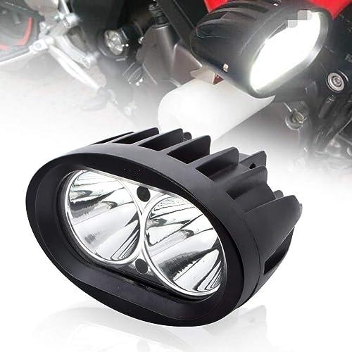 BeiLan Moto Feux Additionnels LED,20W Ronde LED Phares Avant Moto Anti Brouillard 12V 24V Projecteur Spot LED Moto 18...