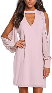 YOINS Cold Shoulder Long Sleeve Mini Dress for Women Sexy Chocker V Neck Chiffon Tunic Dresses