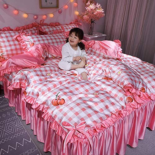Bedding 4 Piece,Bed skirt girl cartoon washed silk four-piece cute bed sheet quilt cover home textile bedding Home Cute kit-Cherry_1.5m bed
