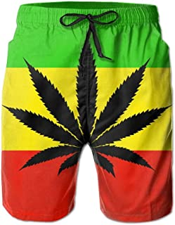 8a2ec433c547 Jamaica Flag Men's/Boys Casual Swim Trunks Short Elastic Waist Beach Pants  with Pockets