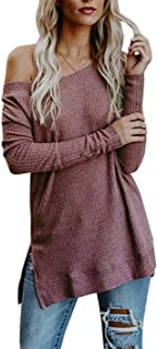 Suimiki Women's Oversized Sweater Off Shoulder Knit Pullovers Tunic Tops