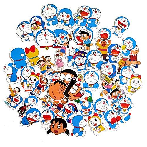 RSZHHL Sticker de Carro 60 Piezas Doraemon Pegatinas para Maleta monopatín Equipaje portátil Nevera teléfono Estilo de Coche DIY calcomanía Pegatina