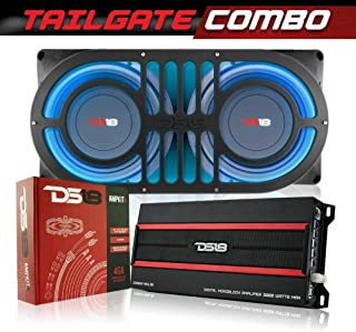DS18 JBASS Jeep Wrangler JK/JKU/JL/JLU Bass Subwoofer Tailgate Combo - Includes JBASS Enclosure Box, 2 x SW10D4 Shallow Subs, 1 x Candy-XXL Monoblock Amplifier, RGB Module and 4GA Installation Kit