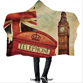AmaUncle Polyester Hooded Blankets,Vintage Style Symbols of London with National Flag UK Great Britain Old Clock Tower Decorative,Camping Indoor Outdoor Travel(59.05x51.18 inch),Multicolor