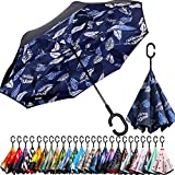 BAGAIL Double Layer Inverted Umbrella Reverse Folding Umbrellas Windproof UV Protection Big Straight Umbrella for Car Rain Outdoor with C-Shaped Handle (Blue Leaf)
