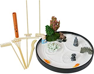 Desktop Meditation Zen Garden - Office Tabletop Mini Rock Sand Garden with Rake Tools Kit Set - Incense Holder Meditating ...