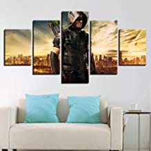 Fifikoj Printed Painting Canvas Home Decor 5 Panel Movie Green Arrow Man Poster Wall Art Modular Character Pictures For Living Room_30x50/70/80cm