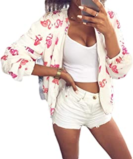 MogogoWomen Floral Printed Zip-Front Casual Pocket Long Sleeve Jacket Coat