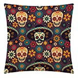 CANSEGO Day Of the Dead with Sugar Skulls Throw Pillow Case,Cotton Linen Cushion Cover Square <span class='highlight'>Standard</span> <span class='highlight'>Home</span> Decorative for Sofa Bedroom Men/Women 18x18 Inch