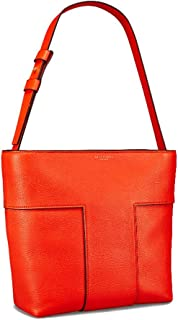 Tory Burch Block-T Pebbled Leather Tote- Spicy Orange