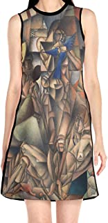 Laur Women¡¯s Sleeveless Scuba Sheath Dress Cubism Abstract Print Casual/Party/Wedding Dress
