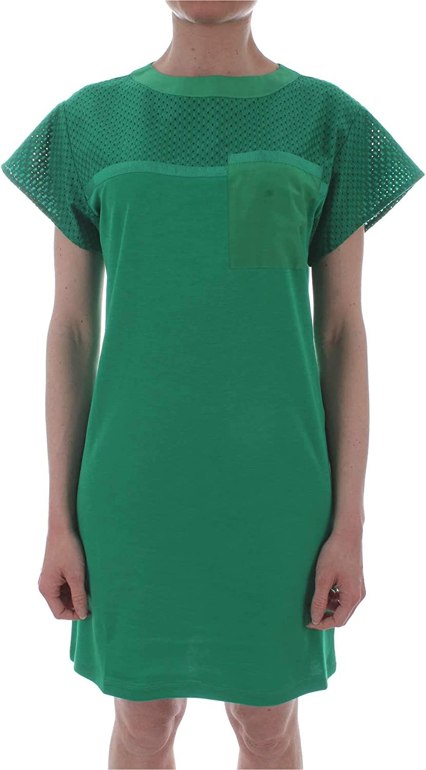 Marella Sport Women's 36210395GREEN Green Cotton Dress