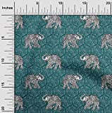oneOone Bio-Baumwoll-Popeline-Twill Stoff Elefant Block