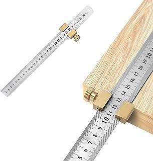 yidenguk Edelstahl LinealMessing Stahl Lineal Positionierblock Paralleles Lineal für die Holzbearbeitung Holzbearbeitung Linie Locator Stop Block DIY Messwerkzeug Messlinea mit 300CM 12 Zoll